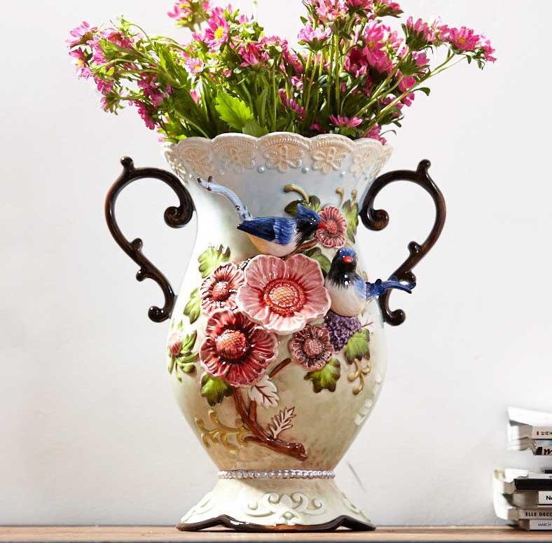 Ceramic Large Flowers Flower Arrangement Sitting Room Lam Peach