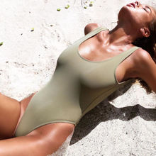 Women Sexy Beachwear Swimsuit Swimwear One Piece Grey Pink Green Solid Simple Costume