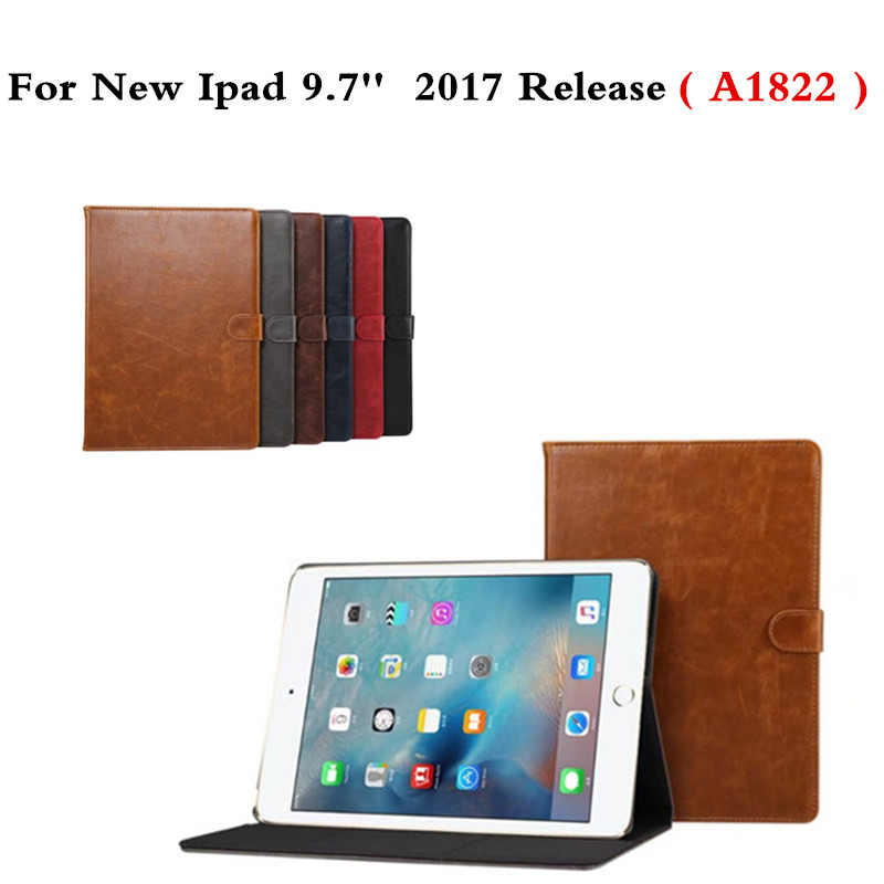Crazy Horse PU Leather Stand Case For New iPad 9.7 inch 2017 Release A1822 Smart Wake-up Sleep Folding Flip Cover Funda Coque pu leather ebook case for kindle paperwhite paper white 1 2 3 2015 ultra slim hard shell flip cover crazy horse lines wake sleep