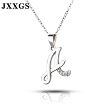 JXXGS Jewelry 100% Silver 925 Alphabet A Necklace With 3A Cubic Zircon White Gold Letter For Women