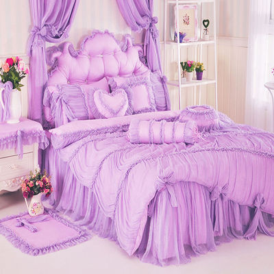 Bedspread Lace Princess wind bed skirt eight piece cotton lace wedding celebration bedding sheets