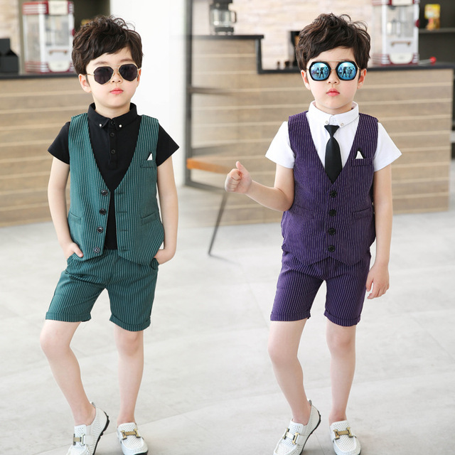 45afce08 Summer Wedding Party Suit for 3-8 Year Boys Fashion Striped Children  Waistcoat Shirts and