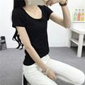 White T-shirt short sleeve shirt slim female summer cotton shirt T-shirt tight solid half sleeve lady