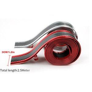 Image 4 - Umbral de puerta de coche de 2,5 M x 3cm, Pedal de desgaste, pegatinas de fibra de carbono, guardabarros lateral para carrocería, falda, protección, parachoques trasero delantero