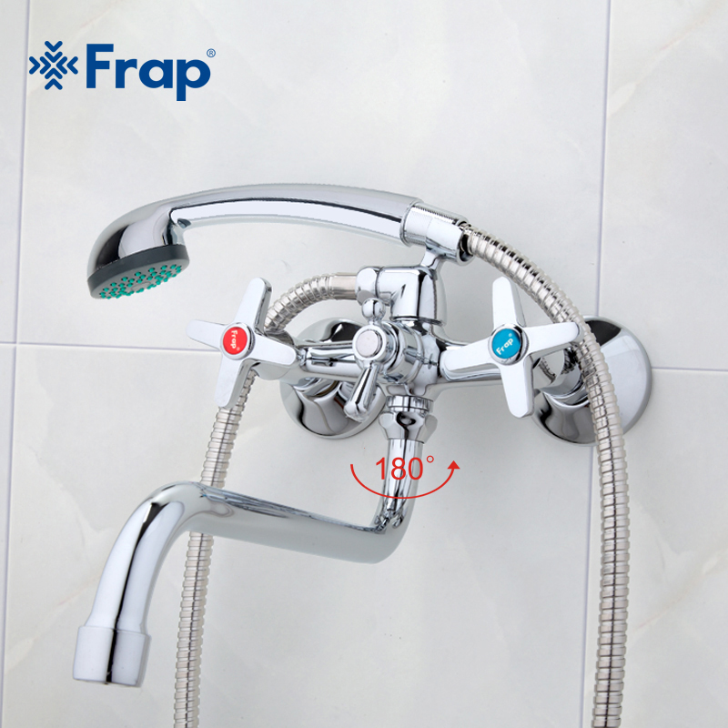 Frap 1 set Bathroom Faucet shower Bathtub Faucets cold hot water Mixer tap torneira double handle wall Mounted zinc alloy faucet frap classic bath bathtub faucets long trunk bathroom bathtub mixer hot and cold water wall mounted shower faucet f2244