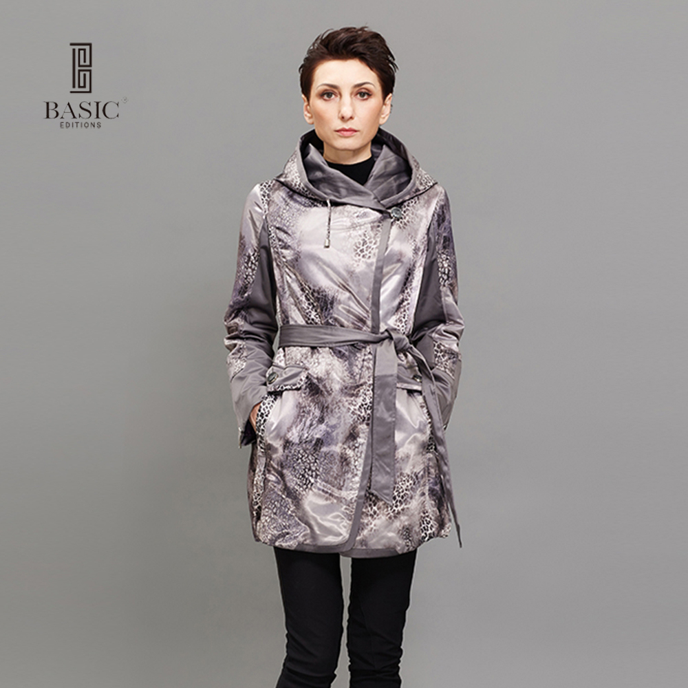 BASIC EDITIONS Women Thin Cotton Jacket Coat Spring Autumn Slim  Long Sleeve Hooded Leopard Long Coats 10S-M002-L muxu new autumn winter coat women basic jacket coat female slim hooded cotton coats casual silver long sleeve ladies jackets