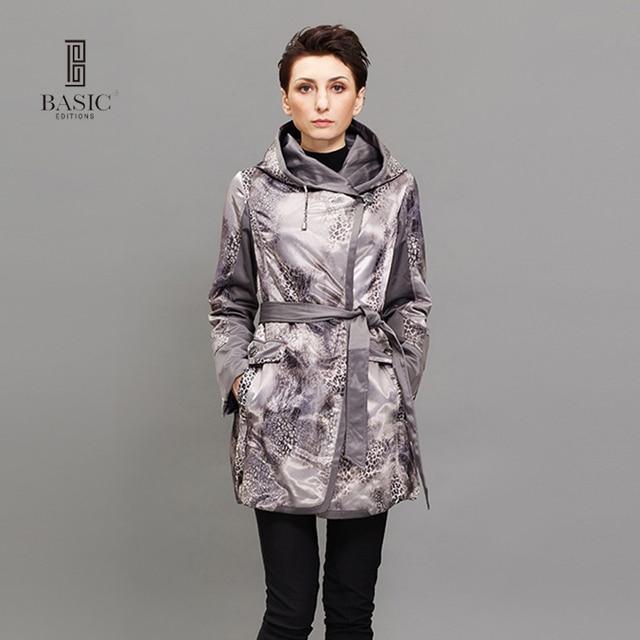 Basic Editions Для женщин тонкий хлопковая куртка пальто Демисезонный Тонкий с длинным рукавом с капюшоном Leopard Длинные пальто 10s-m002-l