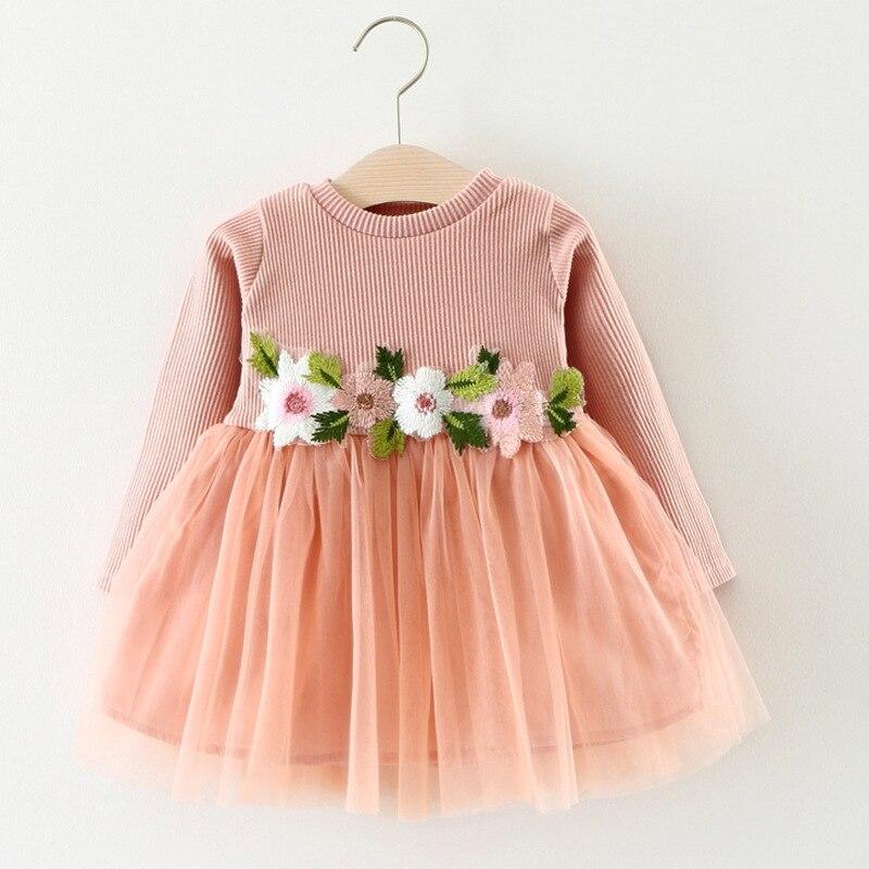 2019 spring girl mesh dress Baby long sleeve cotton princess