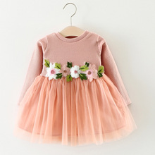 2019 spring girl mesh dress Baby long sleeve cotton princess