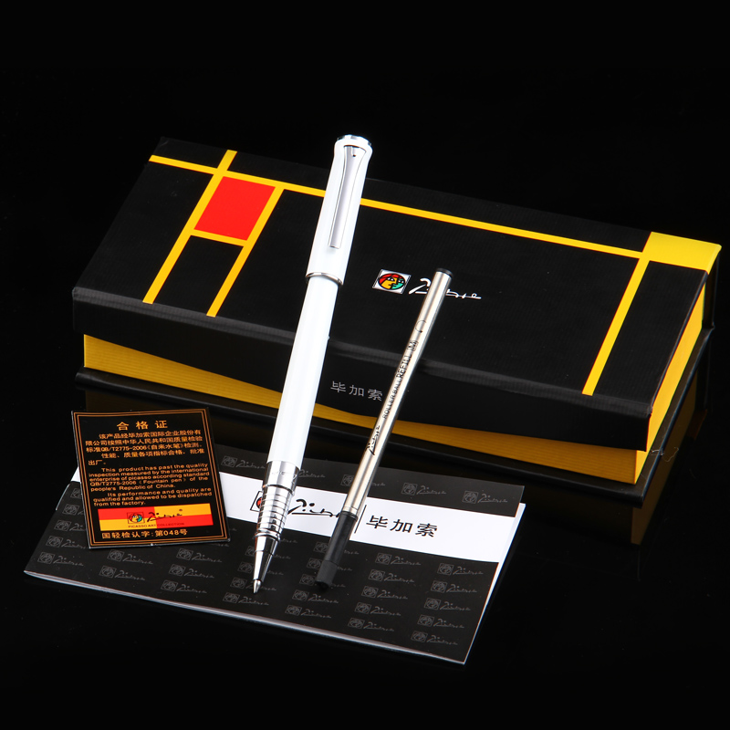 Pimio 989F Pure White and Silver Clip Roller Ball Pen + A Black Refill Ballpoint Pens Set Luxury Gift Box Package Free Shipping pimio 608 luxury black and silver clip signature roller ball pen with gem with original gift box ballpoint pens free shipping