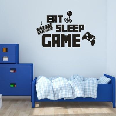 Eat sleep spiel wiederholen aufkleber gaming vinyl aufkleber joystick gamepad gamer wandkunst - Gamer zimmer ...