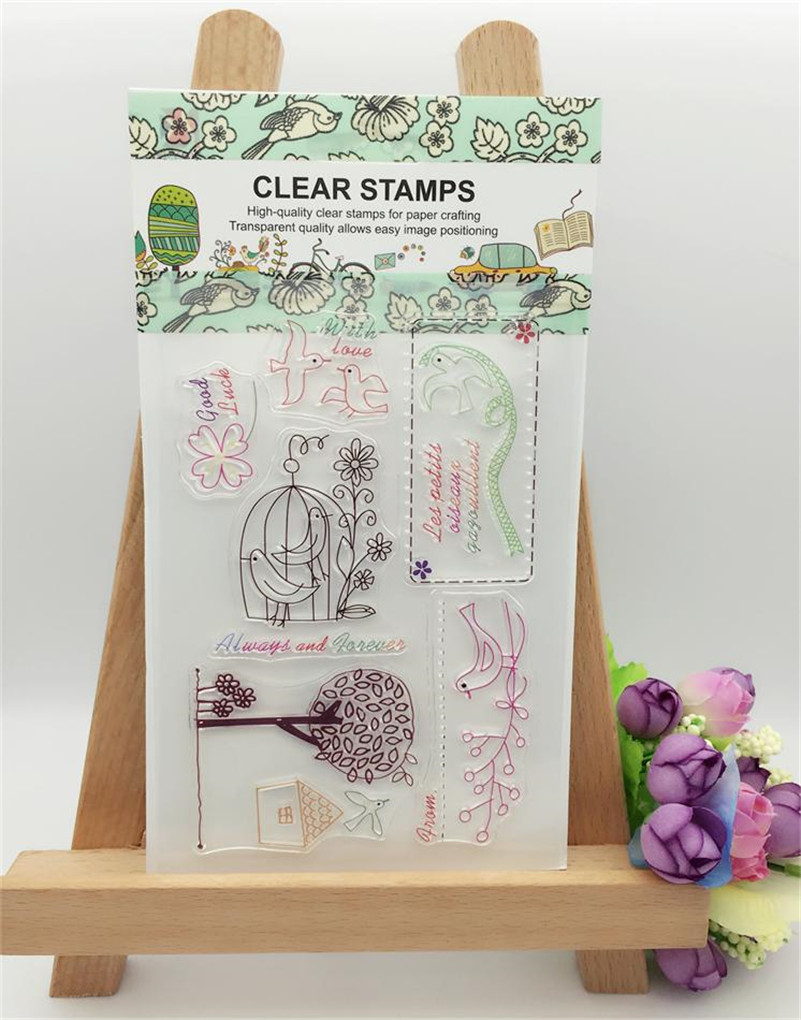 cute birds for DIY Calendar Transparent Clear Rubber Stamp Seal Paper Craft Scrapbooking Decor paper craft wedding gift CL-102 lovely animals and ballon design transparent clear silicone stamp for diy scrapbooking photo album clear stamp cl 278