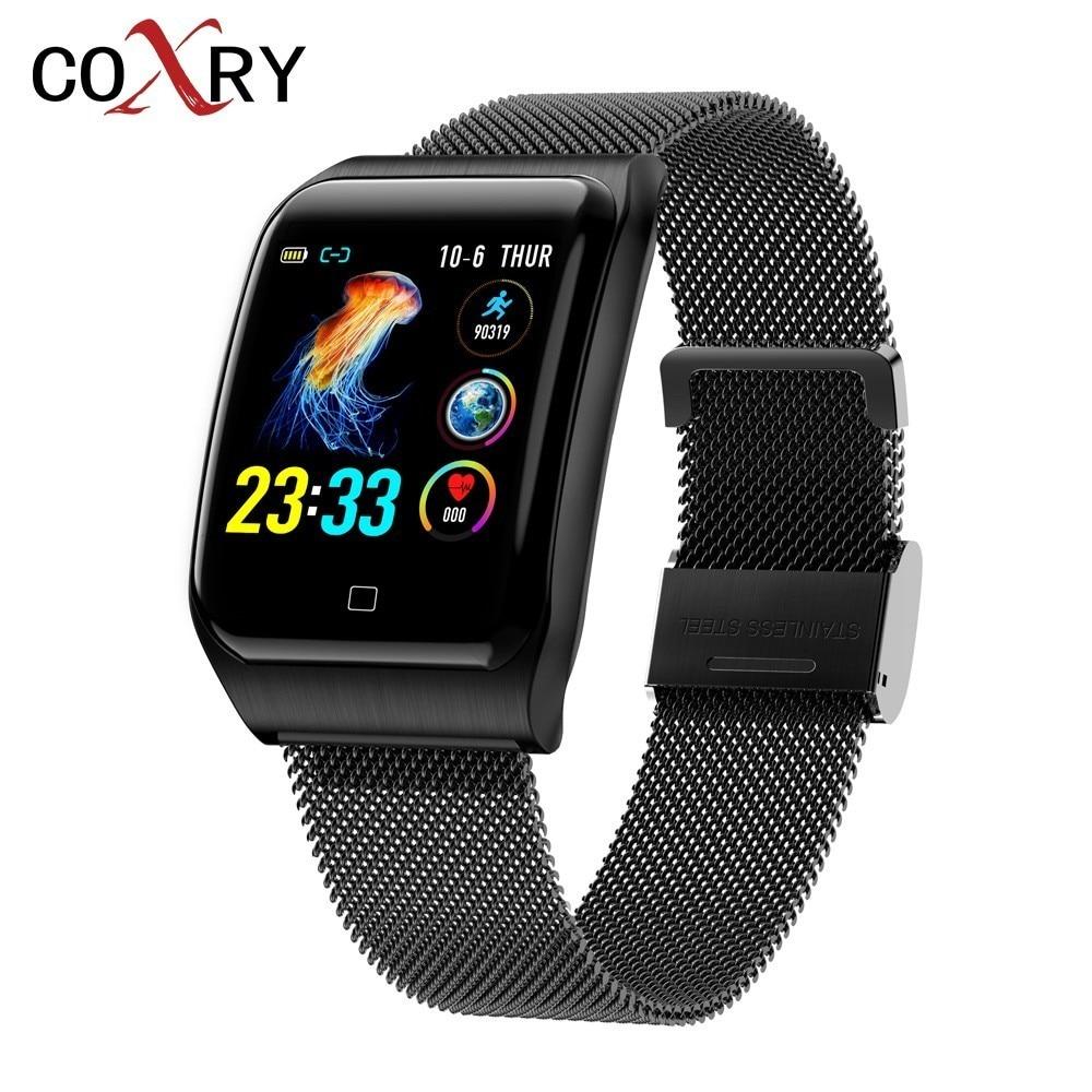 COXRY plusieurs Sport montre intelligente hommes IOS IP68 étanche fréquence cardiaque Smartwatch moniteur de pression artérielle Bluetooth bracelet de santé