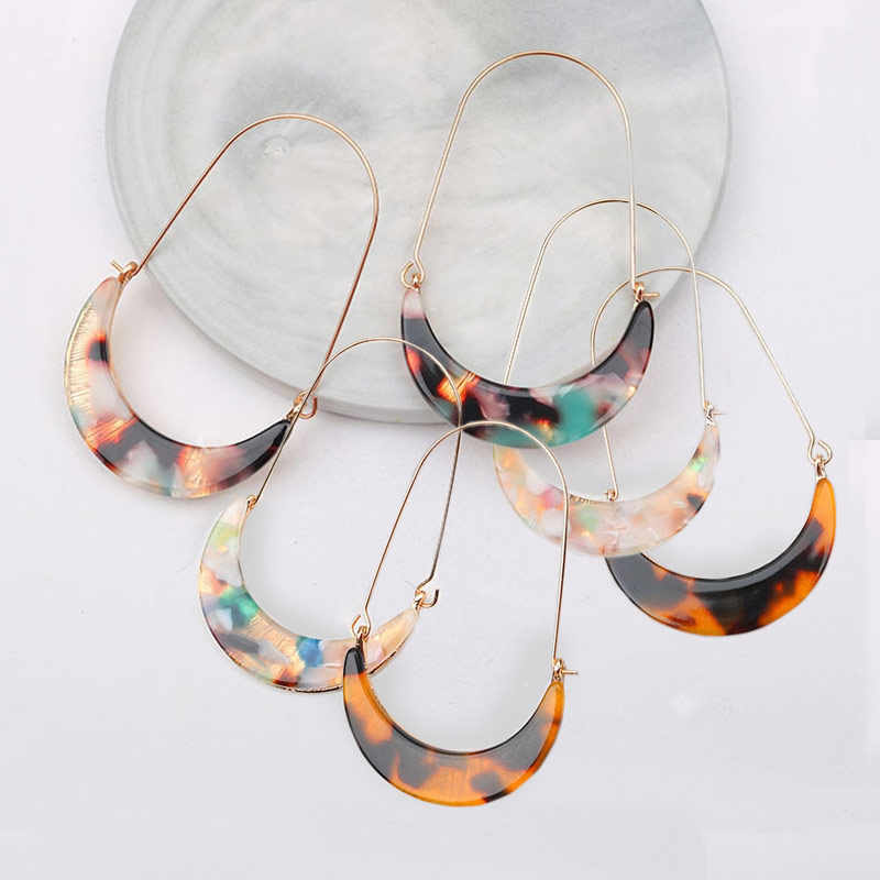 New Fashion Tortoise Color Leopard Print Acrylic Acetic Acid Sheet Geometric Moon Long Drop Earrings for Women