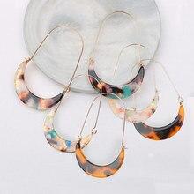 Nuevos pendientes largos de gota de Color tortuga leopardo acrílico impreso hoja de ácido acético Luna geométrica para mujer
