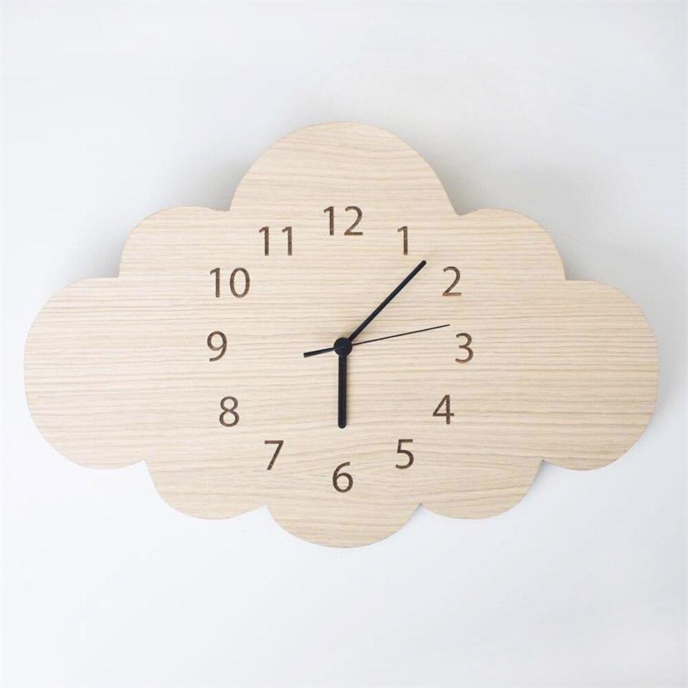 Nordic Style Wood  Cloud Clock Cartoon Silent Clock Wall Home Children's Room Clock Decoration