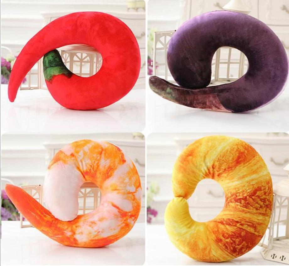 3D креветки круассан чили перец баклажаны форма U Тип 3D подушка для шеи ворс пледы PP Хлопок Подушка плюшевая игрушка B237