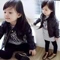 2017 детская одежда одежда из кожи мужской девочка PU кожаная куртка осень детей верхняя одежда ребенка 7