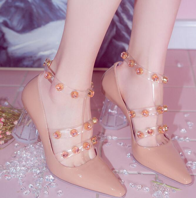 Carpaton Transparent Thick Heels Woman Shos Pointed Toe Crystal  Embellished T-strap High Heels Patent Leather Girls Party Shoes