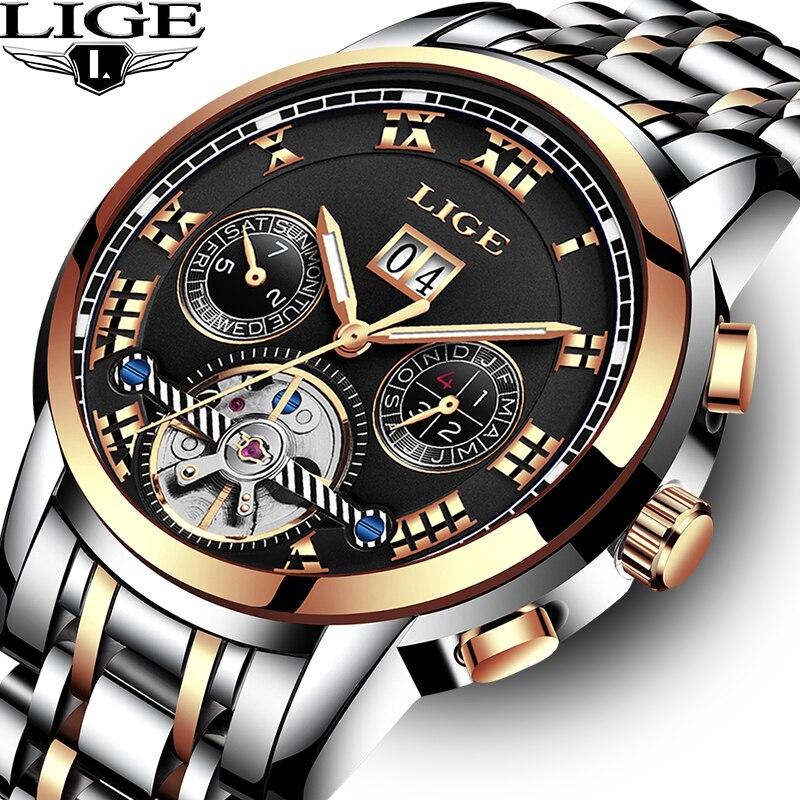 2018 nouvelle LIGE Top luxe automatique montre mécanique hommes en acier inoxydable horloge montres d'affaires Relogio Masculino