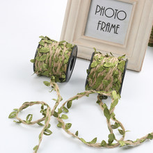 10M/Lot Simulated Leaf and Hemp Rope Natural Hessian Jute Twine Rope Burlap Ribbon Flower Bundle Packing Belt Home Decoration(China)
