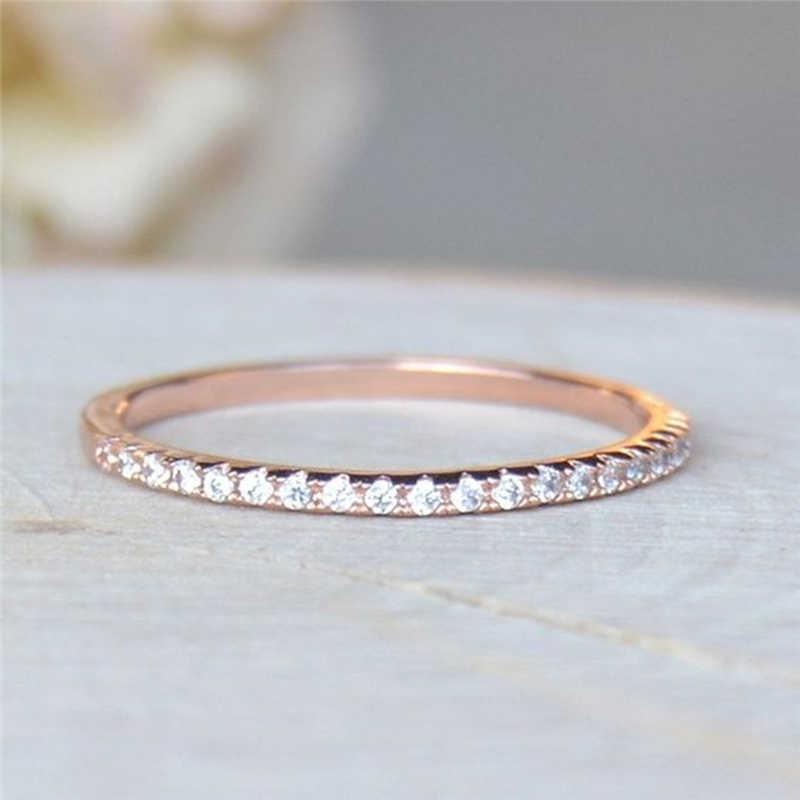 Dainty Und Nette Strass Ring Solide Rose Gold CZ Elegante Dünne Sparkly Ring Für Frau Schmuck Hochzeit Engagement Geschenke