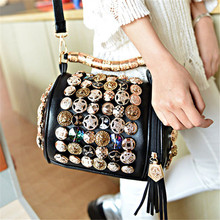 Big Metal Rhinestone Buttons Handbag