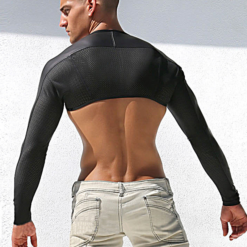 Men Sexy leather Tank Tops breathable mesh vest man T shirt sleeves tight protection sleeve catwalk stage sexy undershirt