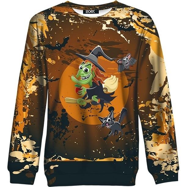 Women Halloween Sweatshirt Autumn Winter Funny Old Witch Broom Cute Bat Cat Printed Pullover Top for Girl Oversized Hoodie Brown