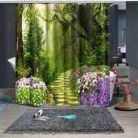 Green Forest print Waterproof fabric Bathroom Kitchen 3D Shower Curtains Door Window Curtains