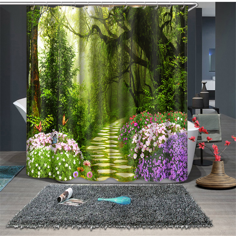 Green Forest print Waterproof fabric Bathroom Kitchen 3D Shower Curtains Door Window Curtains