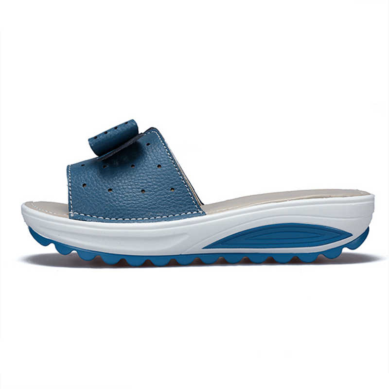 DONGNANFENG ผู้หญิงหญิงสุภาพสตรีของแท้รองเท้าหนังรองเท้าแตะรองเท้าแตะกลางแจ้งฤดูร้อน Cool Beach โบว์ 41 42 BLAC-1792