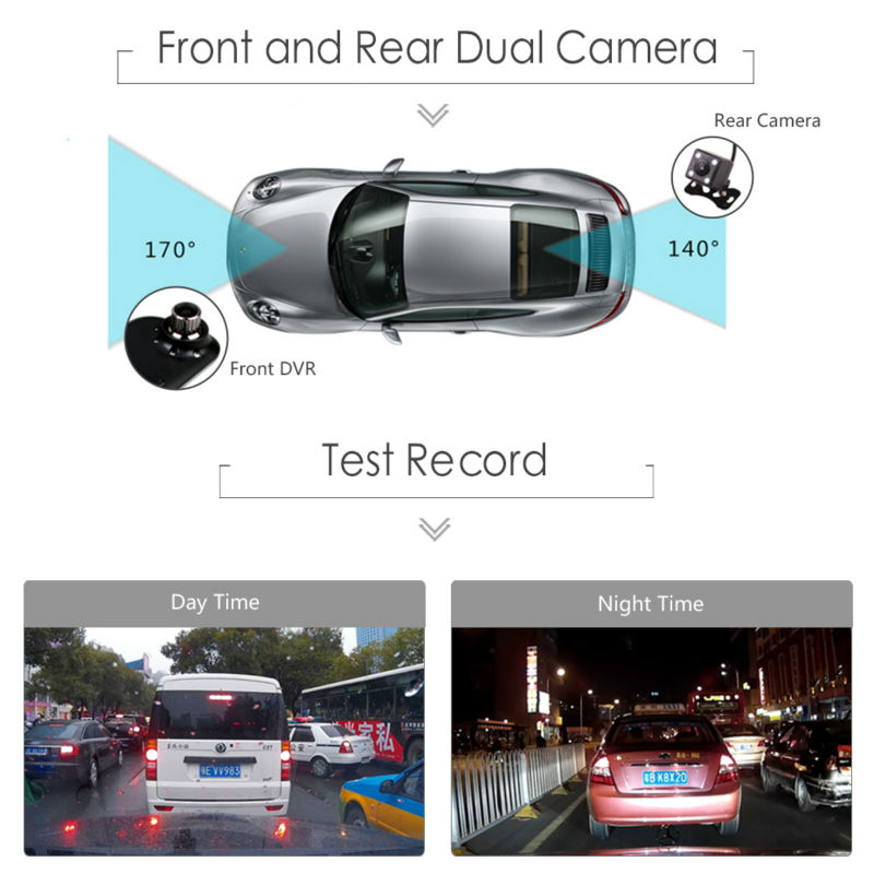 Dual Camera Full HD 1080P Car DVR Black Box Rearview Mirror with Reverse Rear View Parking Camera Motion Detector G Sensor 6