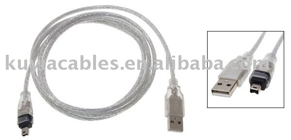 Free Shipping+10pcs/lot+1.2M USB A Male to IEEE 1394 4 Pin Firewire Cable/usb to 1394 cable