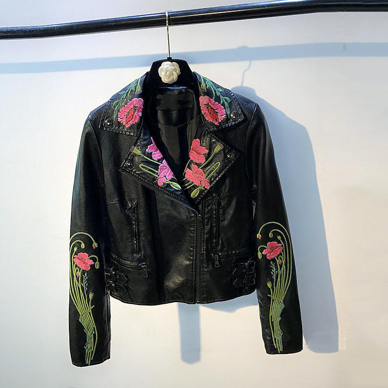 3D Flower Embroidery Women Faux   Leather   Jackets Chinese Traditional Female Motorcycle   Leather   Jacket Coats Pattern Design C1167
