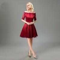 Fashion Bateau half sleeve Knee length Satin Applique burgundy short dresses Homecoming Dresses