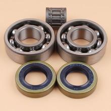 Crankshaft Main Bearing Oil Seals w/ Piston Pin Bearing Kit For Husqvarna 268 272 359 365 372 372XP # 738 22 02-25