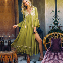 2019 Summer Boho Maxi Dress Women Floral Embroidery V-Neck Tassel Ruffles Beach Dresses Elegant Chic Cotton Free Style