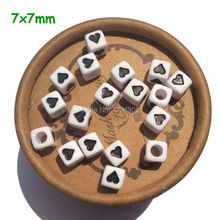 7*7mm 100pcs/lot Square Acrylic Spacer Loose Cube Heart Beads for DIY Necklace Jewelry Wholesale