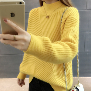 Image 4 - PEONFLY New 2019 Loose Thick Warm Winter Pullover Sweater Women Jumper Half Turtleneck Long Sleeve Knit Yellow Sweater Female