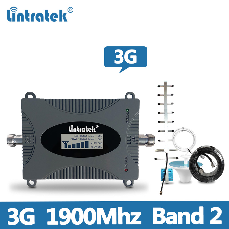 Lintratek Signal Booster 3G Repeater 3G 1900Mhz Band 2 PCS UMTS Mobile Phone Amplifier 1900Mhz Signal Repeater Repetidor Kit @7