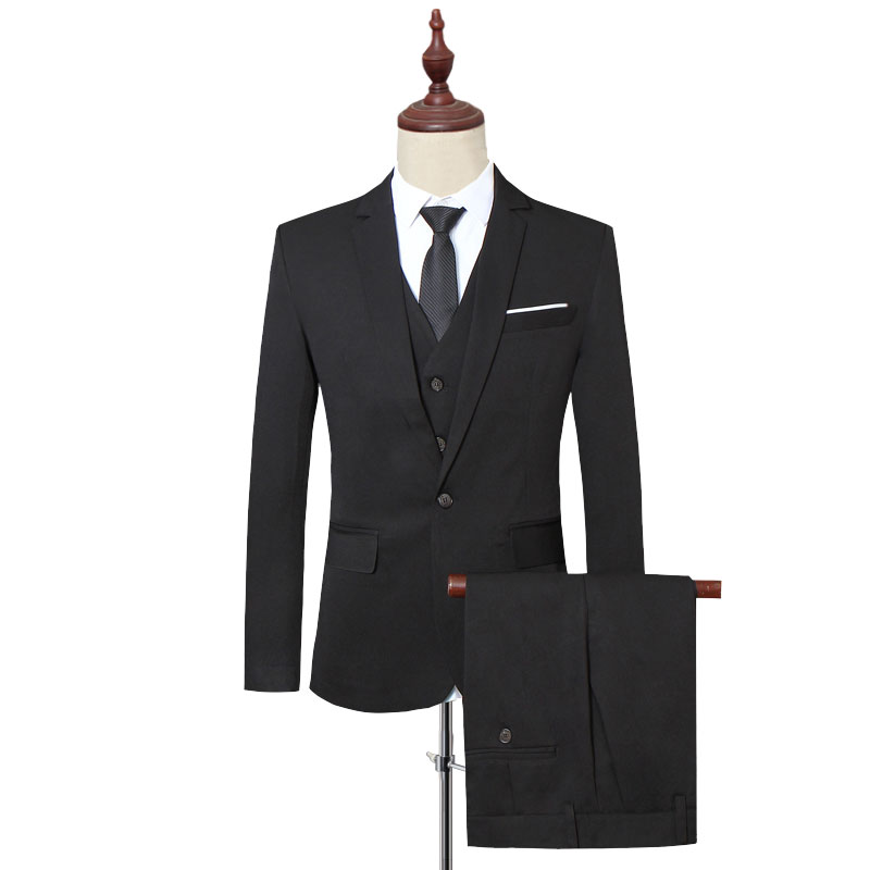 Klassische Formale Kleid Männer Anzug Jacken + Weste + Hosen Mode Freizeit Herren 3 Stück Anzug Größe S 6XL Hochzeit Anzüge für Mann Schwarz - 6