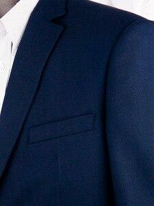 Image 5 - Marineblauw Nailhead Zakelijke Mannen Pakken Custom Made Slim Fit Wol Blend Vogel eye Wedding Suits Voor Mannen, tailor Made Bruidegom Pak