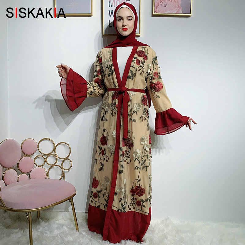 Siskakia לוקסוס תחרה מלא גוף רקמת העבאיה שמלת אופנה אבוקה שרוול דובאי קרדיגן גלימות קיץ 2019 בגדים אסלאמיים