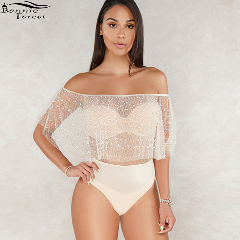 8bcf298e0 Bonnie Forest Sexy Slash Neck Nude Mesh Off The Shoulder Pearl Embellished  Bodysuit Overalls Summer Womens Mesh Short Jumpusits-in Bodysuits from  Women s ...