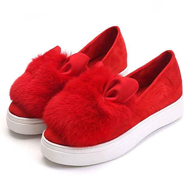 2016 Autumn Winter Warm Suede Slip on Women Flats Creepers Fashion Women's Cute Platform Bunny Boat Shoes Large Size 35-40 Z108