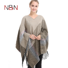 2017 Winter Frauen Wolle Poncho Casual Quaste Pullover Gestreiften Sleeveless Pullover Strickpullover Betwing Hülse Jumper Strickjacke(China)