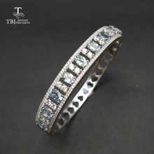 TBJ,2017 New 925 silver bangle with 4ct natural aquamarine ov4*6mm gemstone bangle in 925 silver fine jewelry for women as gift - DISCOUNT ITEM  8% OFF All Category