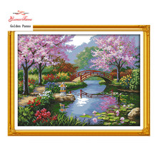 Golden Panno,The Beautiful Scenery of Park patterns Counted Cross Stitch 11CT 14CT Cross Stitch Kits for Embroidery Home Deco923(China)