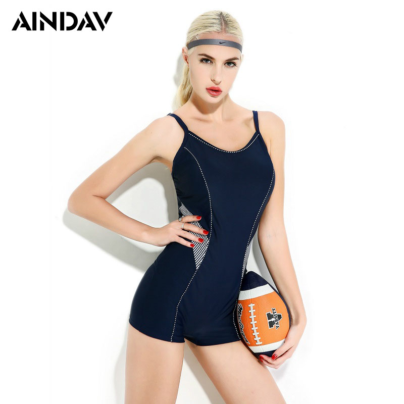 Brand Boyleg Arena Swimwear One Piece Swimsuit Sport Swimming Suit For Women Plus Size Training Beach Bathing Suit Navy Blue